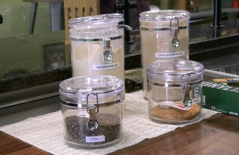 Customers can add chia seeds, flax seeds or opt for vegan protein powders at The Fresh Monkee, 405 Queen St., Southington, Monday, Jan. 21, 2019. | Ashley Kus, Record-Journal