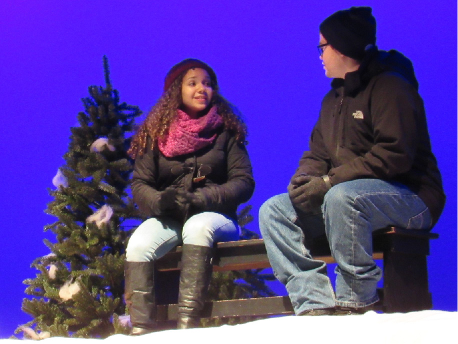 "Maloney High School freshman Giana Cagna and junior Jeremy Szawerda perform a scene from the play ""Almost, Maine"" at the school on Tuesday, Nov. 29, 2016. The play runs Thursday through Saturday."