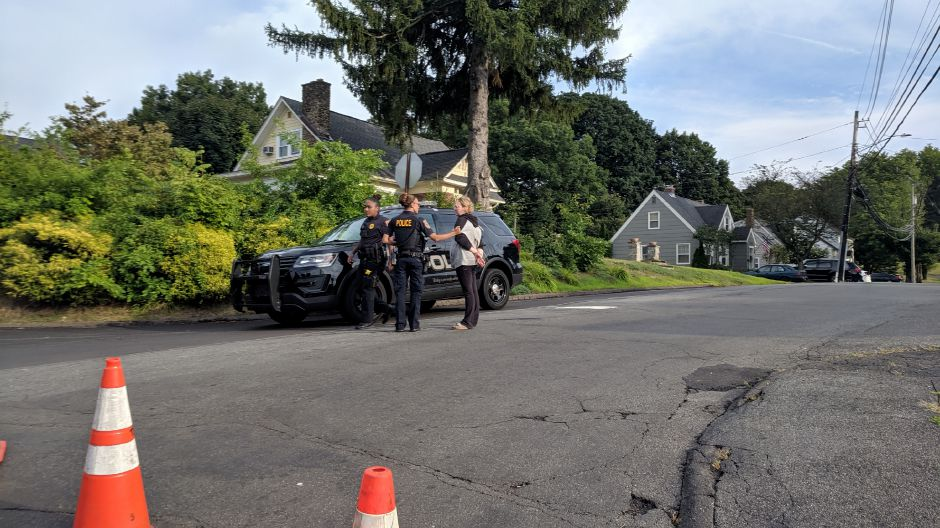 Ashley Schonagel is taken into custody by Meriden police on Tuesday, Aug. 13, 2019. Michael Gagne | Record-Journal