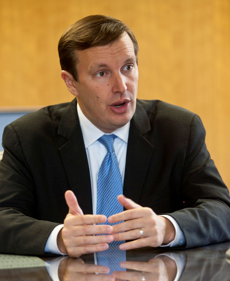 Chris Murphy, candidate for US Senate, speaks with the editorial board at the Record-Journal in Meriden, Oct. 15, 2012. (Christopher Zajac / Record-Journal)