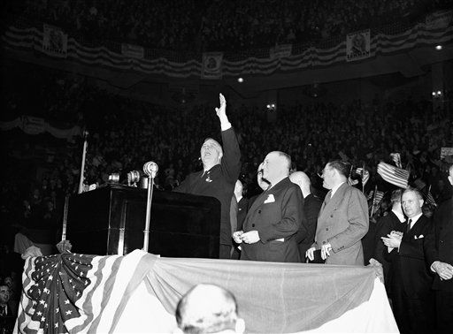 President Franklin D. Roosevelt strikes a serious note in one of his last campaign speeches at Madison Square Garden in New York, Oct. 31, 1936. (AP Photo)