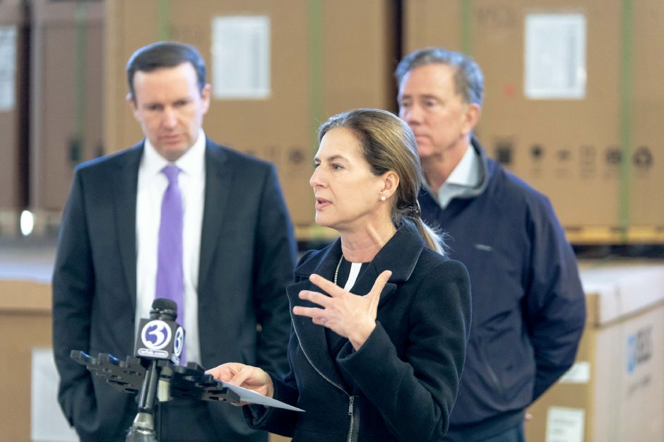 Democratic Lt. Gov. candidate Susan Bysiewicz speaks during a tour of Trinity Solar in Cheshire. Joined by Democratic Senator Chris Murphy and gubernatorial candidate Ned Lamont, she toured the company and spoke about the importance of clean energy on Oct. 25, 2018. | Devin Leith-Yessian/Record-Journal