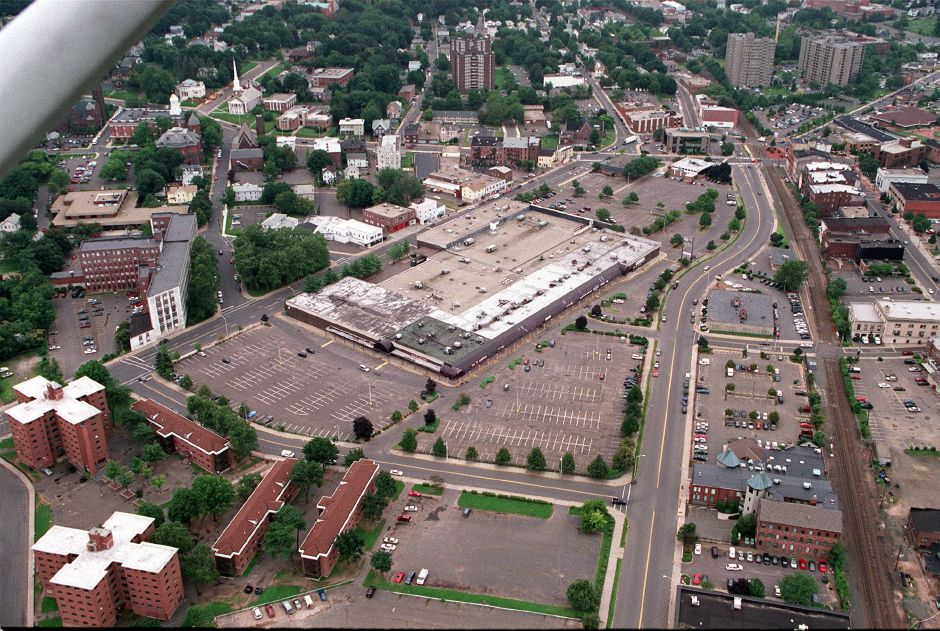 Downtown Meriden. Meriden Hub is in the center of the photo. Aerial photo taken on August 30,2000.