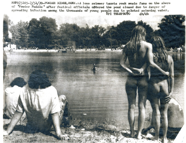 "The 1970 Powder Ridge Rock Festival, described in articles from the time as the ""ill-fated rock festival,"" was billed as a follow-up to the Woodstock music festival a year earlier. Many in attendance swam in what was nicknamed ""Powder Puddle."" The small pond was eventually closed over health concerns."