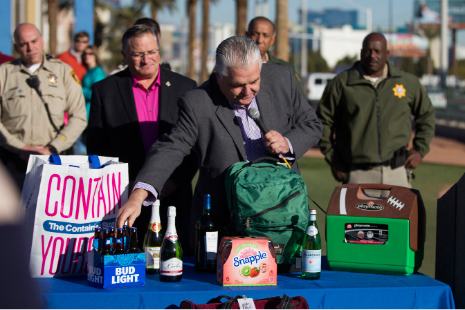 Clark County Commission Chairman Steve Sisolak talks about the items banned on the Strip and downtown