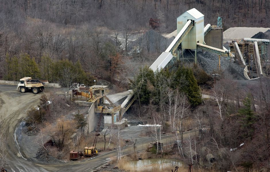 Partial view of the York Hill Trap Rock Quarry as seen from Chauncey Peak, Wednesday, April 2, 2014. | Dave Zajac / Record-Journal