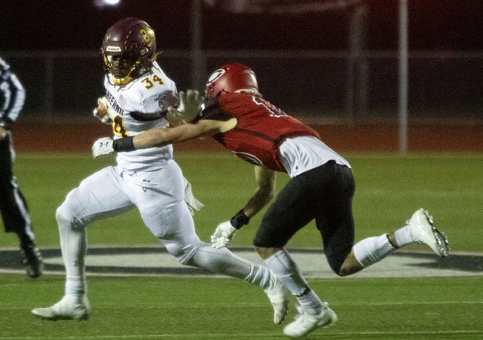 Terrence Bogan became Sheehan's leading rusher of all-time in Wednesday night's 51-0 romp over Woodland in the Class S quarterfinals. Aaron Flaum, Record-Journal