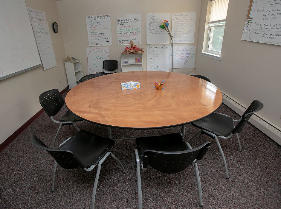A group therapy room at Child Guidance Clinic for Central Connecticut at 284 Pratt St. in Meriden, Thursday, July 26, 2018. Founded in 1957, the nonprofit Child Guidance Clinic of Central Connecticut provides comprehensive evidenced based mental health evaluation and treatment, crisis intervention and outreach services to children, adolescents and their families in the greater Meriden area. Dave Zajac, Record-Journal