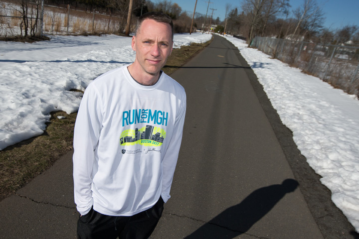 Southington's Mike Garry will run in next month's Boston Marathon for the first time. Garry will be running for the charity group 'Fighting Kids' Cancer ... One Step at a Time,' in support of his 10-year old nephew Liam, who was diagnosed with lung cancer at 6 month old, but is now a healthy, energetic boy who is thriving, thanks in large part to the care he received at MassGeneral Hospital for Children.  | Justin Weekes, Special to the Record-Journal