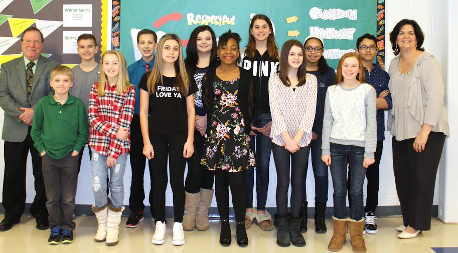 Front row: Alex Grejdus, Sadie McPartland, Gianna Sperry, Deanna Morgan, Abigail Galvin, and Emma Quint; back row: Mr. Terino, principal, Anthony Penisse, Dominic Sisco, Kathryn Calandra, Alison Barretta, Maliah Ryan, Jose Colon, and Mrs. Vitcavage, assistant principal.