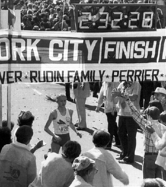 Grete Waitz of Norway crosses the finish line after running 26 miles in the New York City Marathon, on Oct. 22, 1978, and posting the fastest time ever for a woman. Waitz, running in her first marathon, was a surprise winner in 2 hours 32 minutes and 30 seconds, eclipsing the previous record by 2 minutes and 18 seconds. (AP Photo)