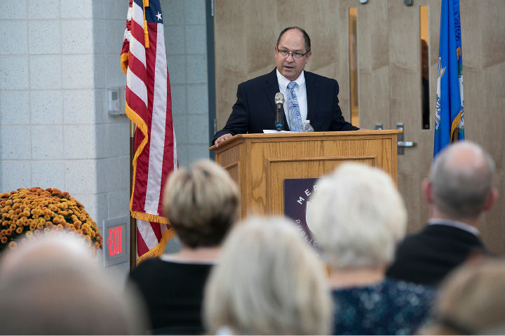 Principal Robert Montemurro speaks during a ribbon cutting ceremony for the new Platt High School in Meriden, Thursday, October 19, 2017.    | Dave Zajac, Record-Journal