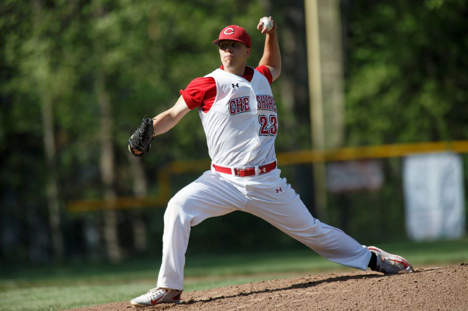 Cheshire's Ben Shadeck fired a one-hitter against Lyman Hall on Monday at Cheshire High School. It was the third straight shutout for the Rams, who improved to 14-4. | Justin Weekes / Special to the Record-Journal