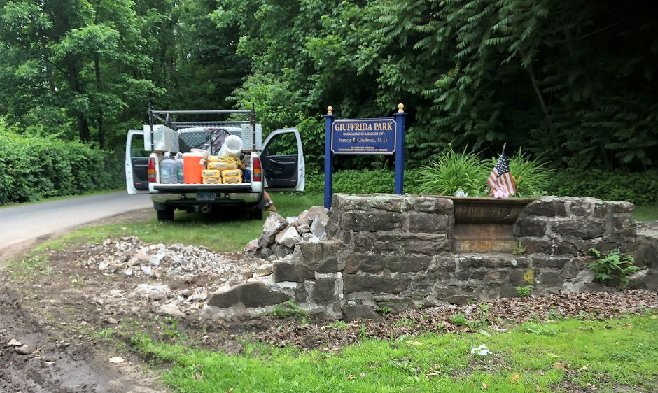 The damaged stone wall at the entrance to Giuffrida Park in Meriden. A new wall has been constructed by Meriden based home improvement contractor Jack Biafore LLC. Courtesy Anthony Perez