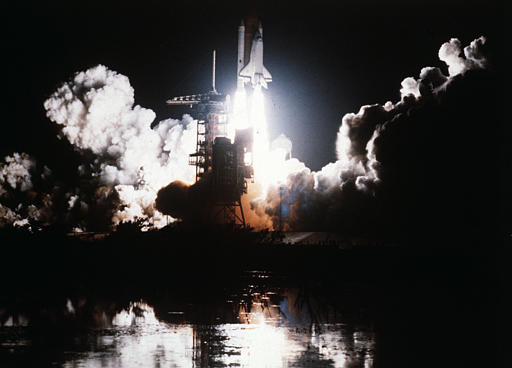 A view of lift off of the space shuttle Challenger at Cape Canaveral at 2:32 a.m., as it leaves on a six-day mission, Aug. 29, 1983.  (AP Photo)