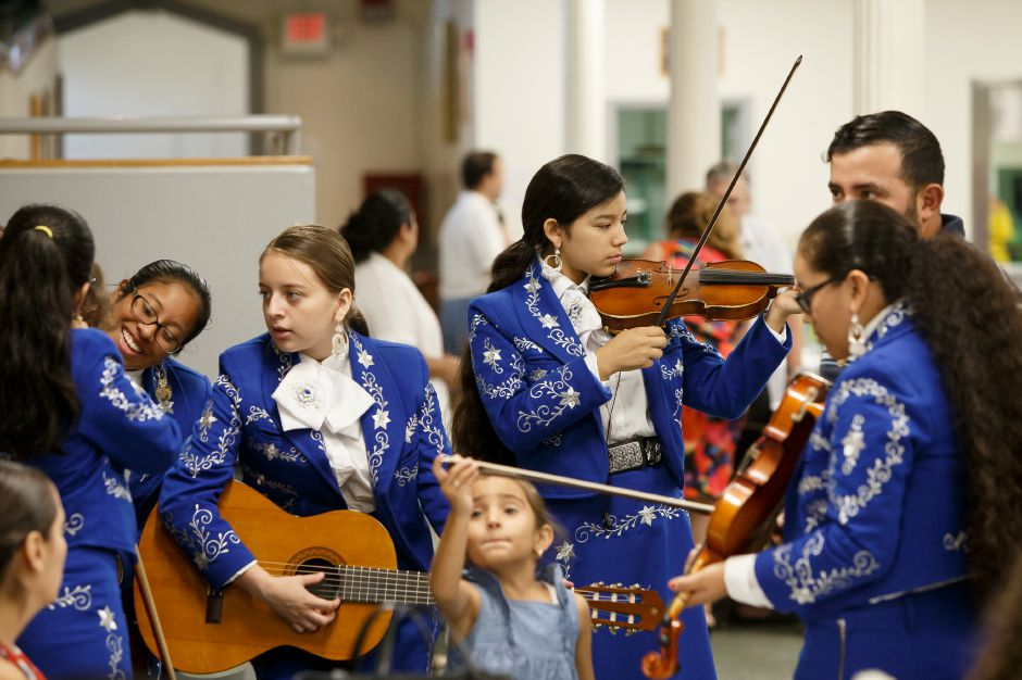 Marchia Colonial band prepares to perform Sunday during a farwell reception for Father Castro at Most holy Trinity Church in Wallingford August 19, 2018 | Justin Weekes / Special to the Record-Journal