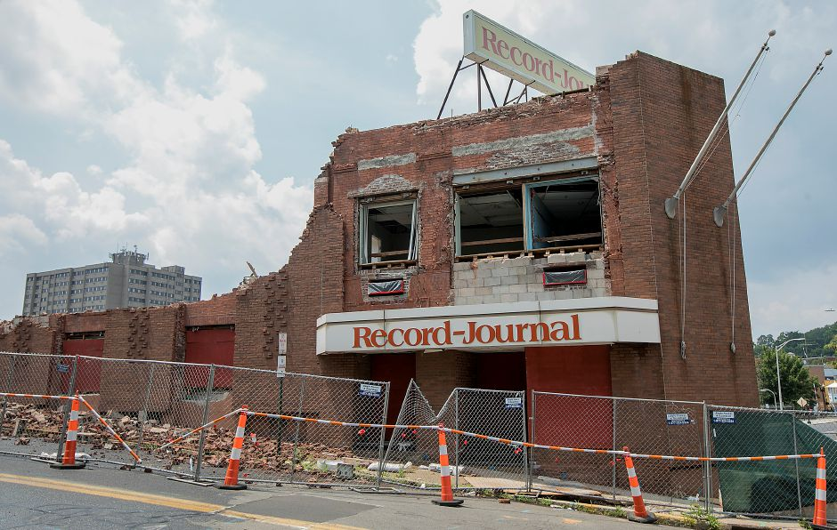 Demolition continues on the former Record-Journal building at 11 Crown St. in Meriden, Wednesday, July 12, 2017. | Dave Zajac, Record-Journal
