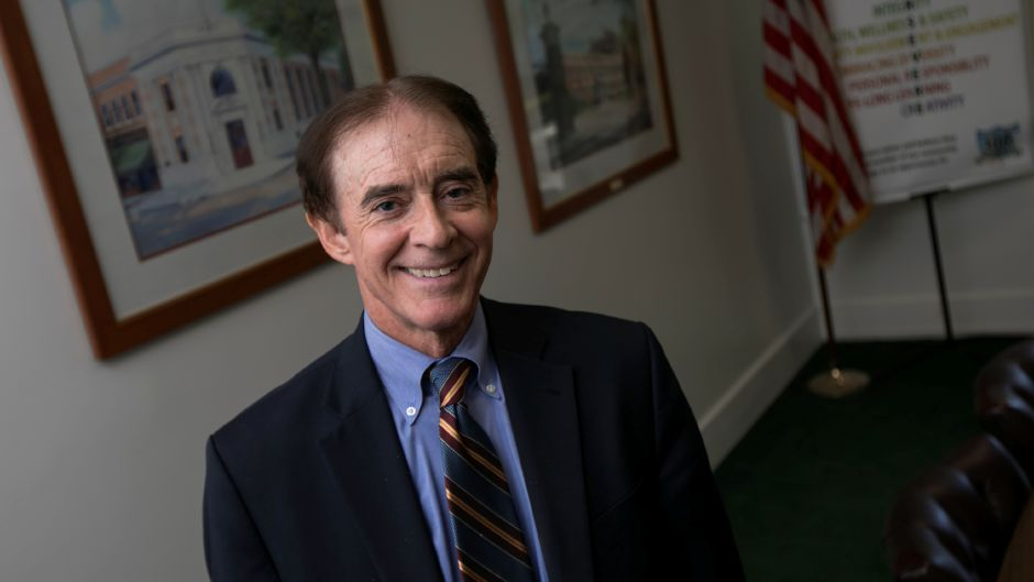 Mayor William W. Dickinson Jr. poses at Wallingford Town Hall, Friday, October 13, 2017. Dickinson is the second-longest serving mayor in the state.        | Dave Zajac, Record-Journal