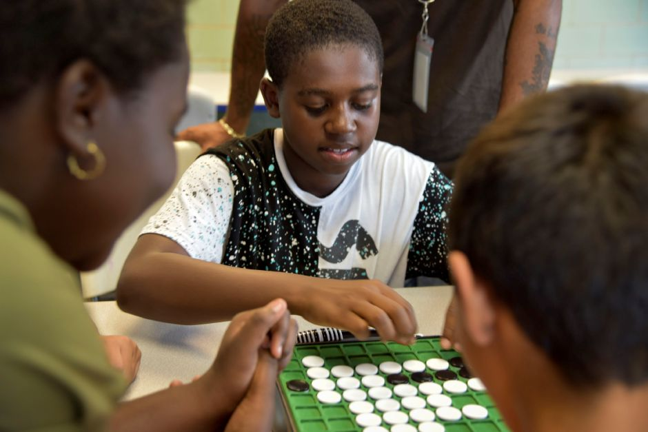 Meriden resident Deondre Maurice Slater, 12, plays Othello with other students at the club on Wednesday, Sept. 19. The club is looking to expand its mentorship program. | Bailey Wright, Record-Journal