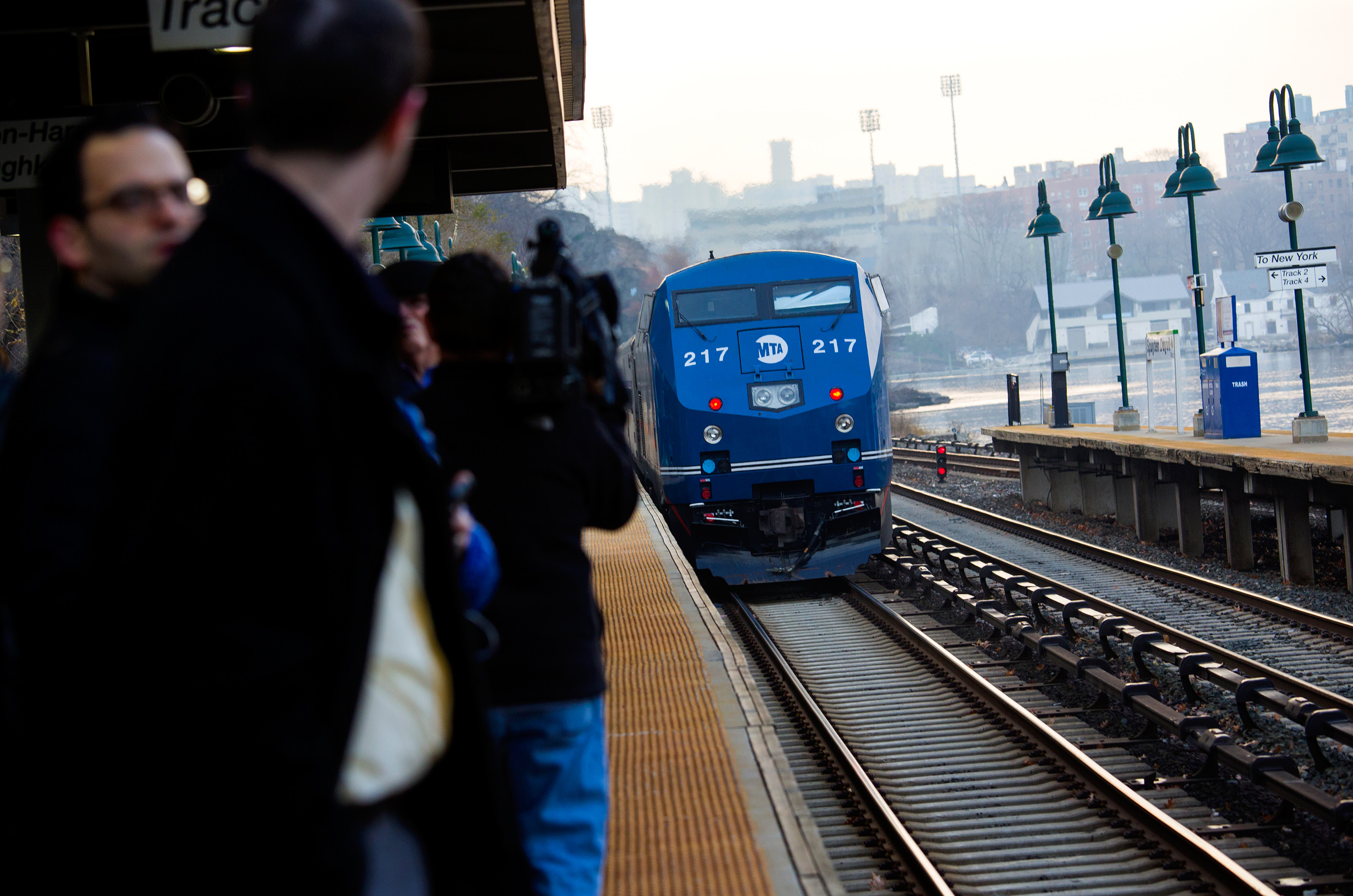 A Metro-North passenger train that is pushed by a locomotive rolls through the Spuyten Duyvil station in the Bronx borough of New York Wednesday, Dec. 4, 2013, not far from the area where a fatal derailment disrupted service on the Hudson Line of the railroad Sunday, Dec. 1. The line was running at ninety eight percent capacity today, according to Metro-North. (AP Photo/Craig Ruttle)