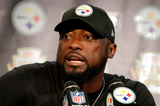 Pittsburgh Steelers head coach Mike Tomlin meets with reporters after an NFL football game against the Kansas City Chiefs in Pittsburgh, Sunday, Sept. 16, 2018. (AP Photo/Gene J. Puskar)