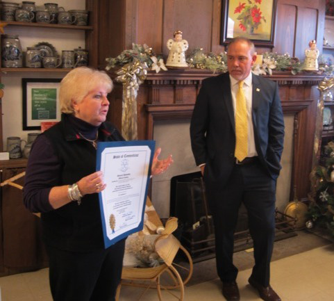 State Rep. Joe Aresimowicz recently presented a State of Connecticut proclamation to President Kate Kearns honoring the Berlin Historical Society