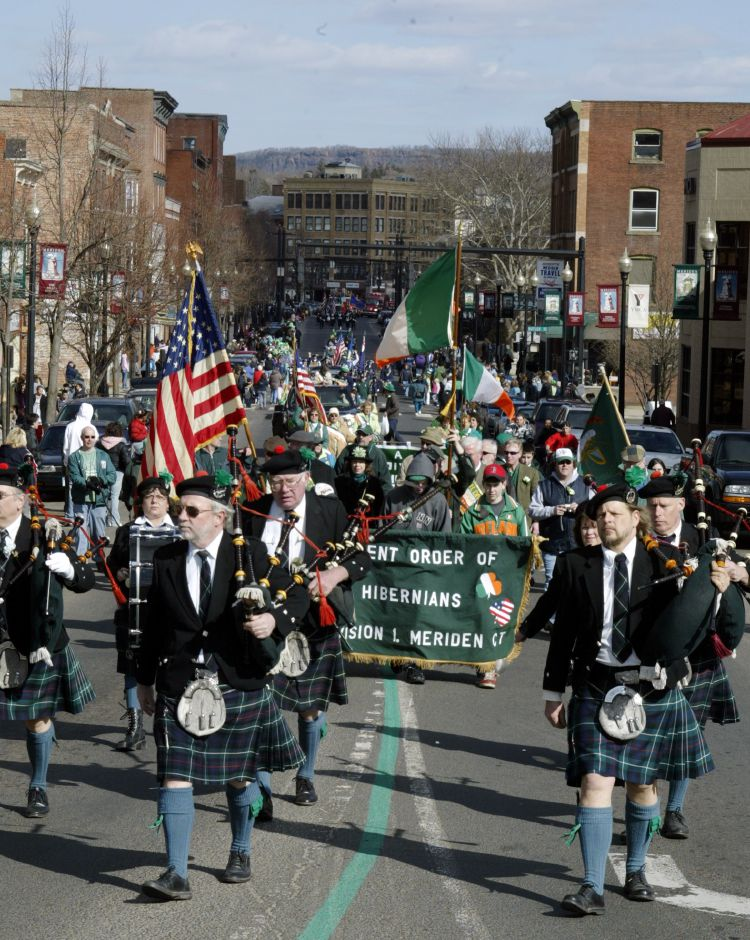 The Ancient Order of Hibernians marches through dowtown Meriden as part of the St. Patrick