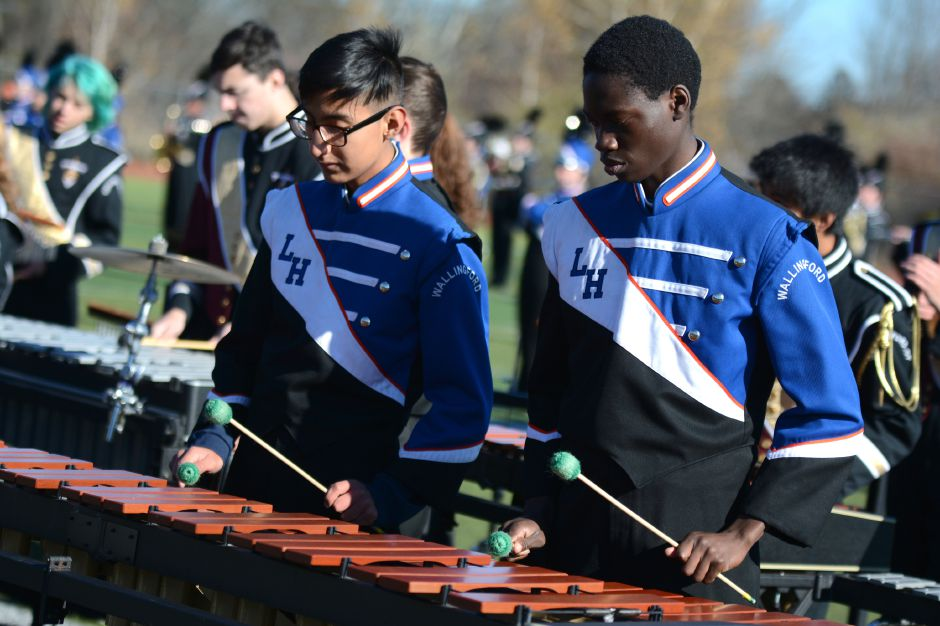 Members of the Lyman Hall band at the Sheehan-Lyman Hall annual Thanksgiving Day football game on Thursday, Nov. 23, 2017. The Titans defeated the Trojans, 49-20. | Bryan Lipiner, Record-Journal