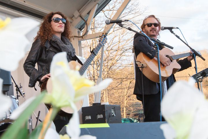 Gary Burr and wife Georgia Middleman perform on the welcome stage Saturday during the Meriden Daffodil Festival Apr. 25, 2015 | Justin Weekes / For the Record-Journal