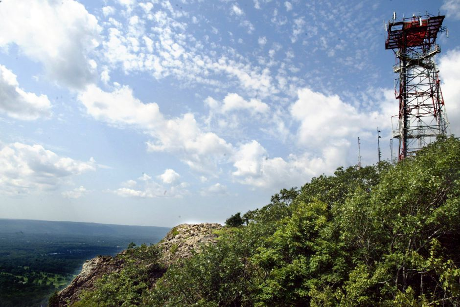 "View looking north towards Southington from West Peak in Hubbard Park Fri. afternoon, Aug. 15, with the ""antenna farm"" on the right."
