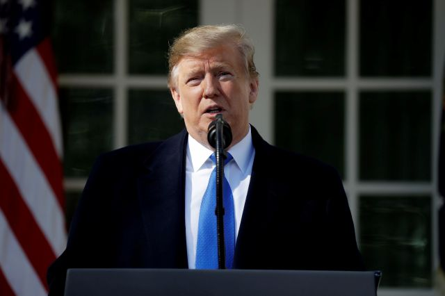 President Donald Trump speaks during an event in the Rose Garden at the White House to declare a national emergency in order to build a wall along the southern border, Friday, Feb. 15, 2019, in Washington. (AP Photo/ Evan Vucci)