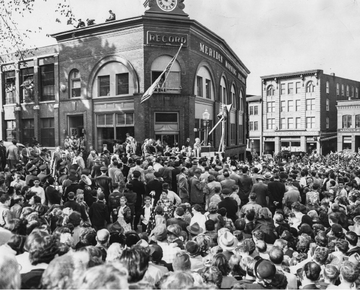 File photo - President Harry S. Truman addresses a crowd estimated at 20,000 in downtown Meriden on Oct. 16, 1952 while campaigning for Adlai E. Stevenson, the Democratic candidate for president. Mr. Truman gave 'em hell on this quick trip, which also included stops in North Haven, Wallingford and Middletown.