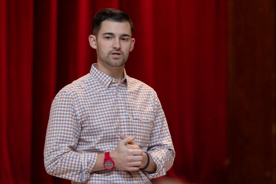 "Sheehan grad Mike Papale was back at his alma mater on Monday to talk with students about his experiences after cardiac arrest brought on hypertrophic cardiomyopathy ended his promising basketball career at age 17. Papale later formed ""In A Heartbeat"" foundation to provide defibrillators for public buildings. Papale attributes defibrillators to saving his life. 