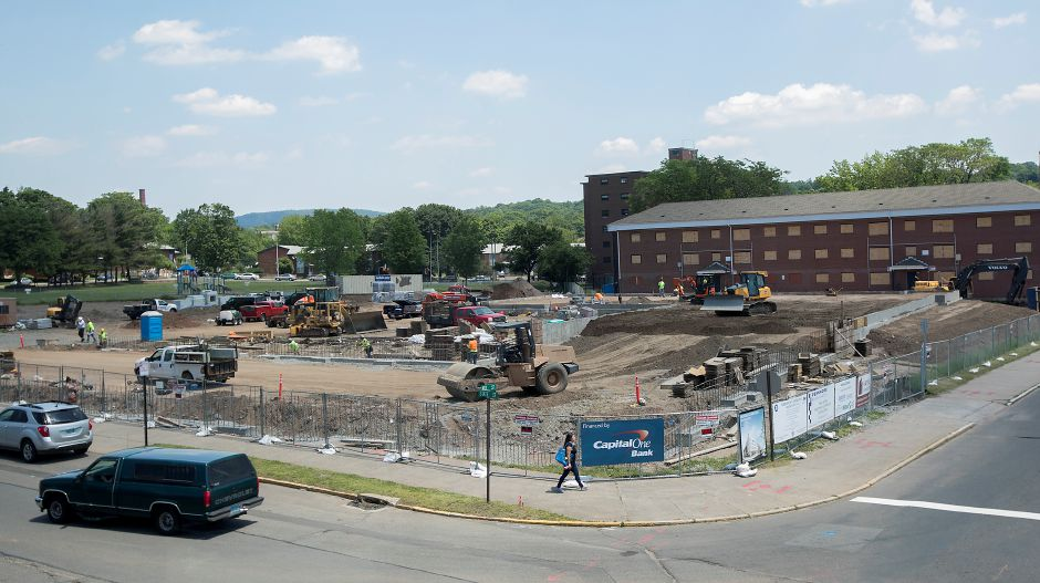 Crews continue construction on the Meriden Commons at 177 State Street in Meriden, Monday, June 12, 2017. | Dave Zajac, Record-Journal