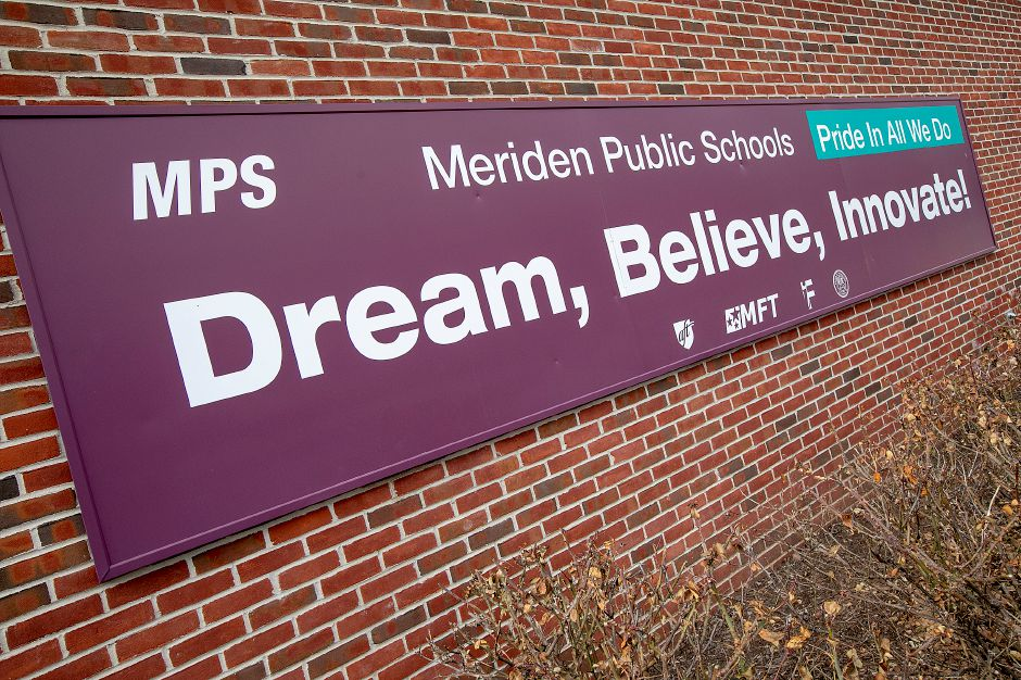 A Meriden Public Schools sign on John Barry Elementary School in Meriden, Wed., Jan. 16, 2019. The school system was recently recognized by a national education organization for its digital technology efforts. Dave Zajac, Record-Journal