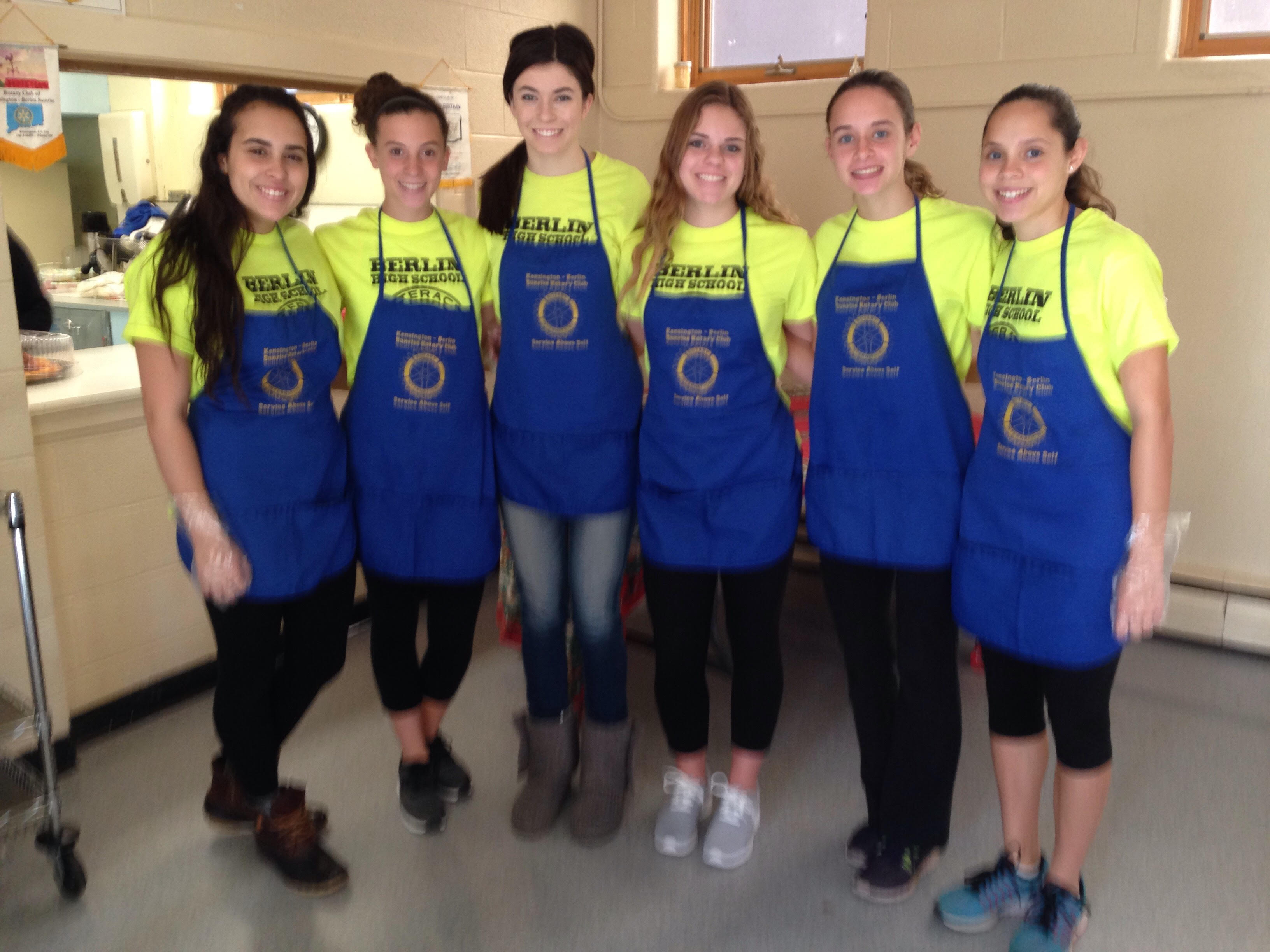 Members of the Berlin Interact Club volunteer at the Salvation Army Soup Kitchen on the first Sunday of each month. From left: Gabby Pattavina, Maxine Muscatello, Bridget McQuillan, Alina Whiteside, Alexa Monroe and Madison Monroe.