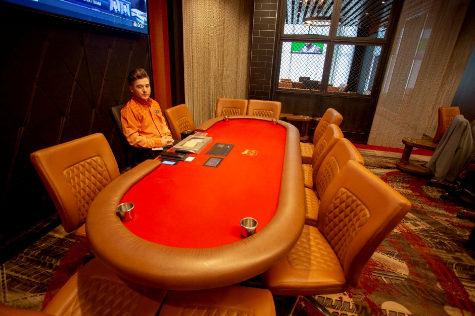 The Poker Room at MGM Springfield incorporates imagery related to the city