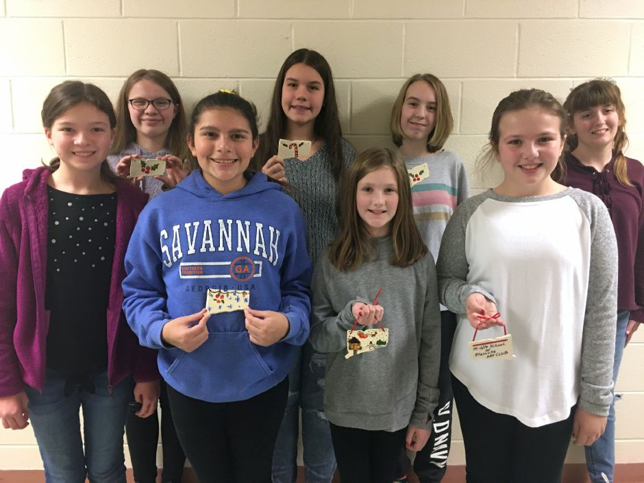 MSP Art Club members with their Connecticut-themed ornaments: Rebecca Curtis, Aingeala Sanchez, Brianna Ballinger, Emma Muldoon, Isabelle McGhee, Adelisa Jahic, Cadence Collin-LaVoie and Tara Adamo.