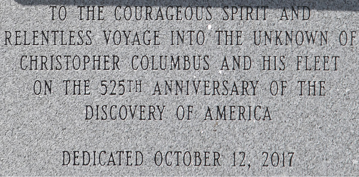 Inscription on a newly installed statue of Christopher Columbus  placed in front of the John Weichsel Municipal Center in Southington, Wednesday, Sept. 13, 2017.    | Dave Zajac, Record-Journal