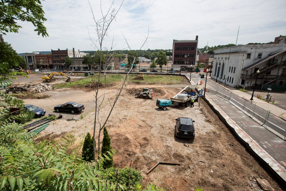 Construction begins Thursday at the 24 Colony St. site in downtown Meriden. | Richie Rathsack/Record-Journal