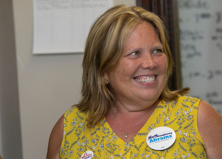 Mary Daugherty Abrams smiles big at her Meriden headquarters after winning the Democratic primary for the 13th Senate seat Tuesday night Aug. 14, 2018. | Dave Zajac, Record-Journal