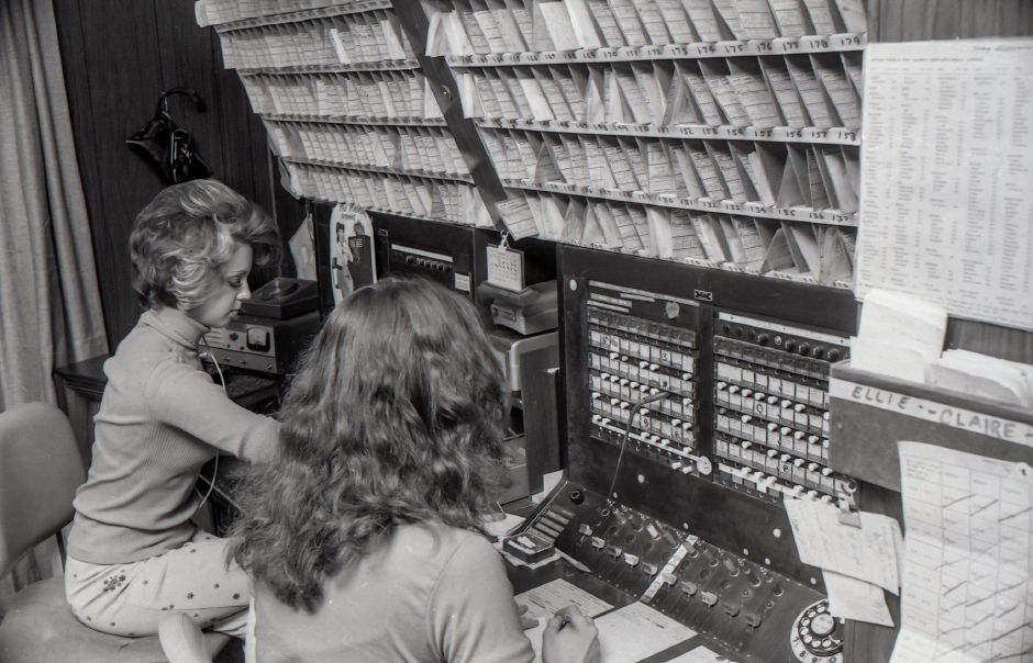 Photos of switchboard operators from the Record-Journal progress edition, 1975.