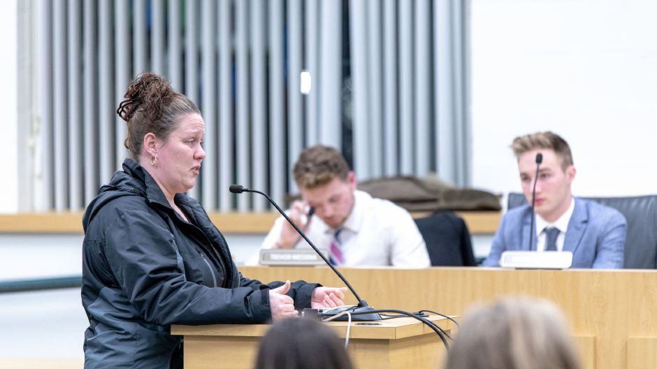 Vivian Sheen, of Southington, speaks at a Board of Education meeting on Jan 10, 2019 where students and parents shared experiences with feeling discriminated against. | Devin Leith-Yessian/Record-Journal