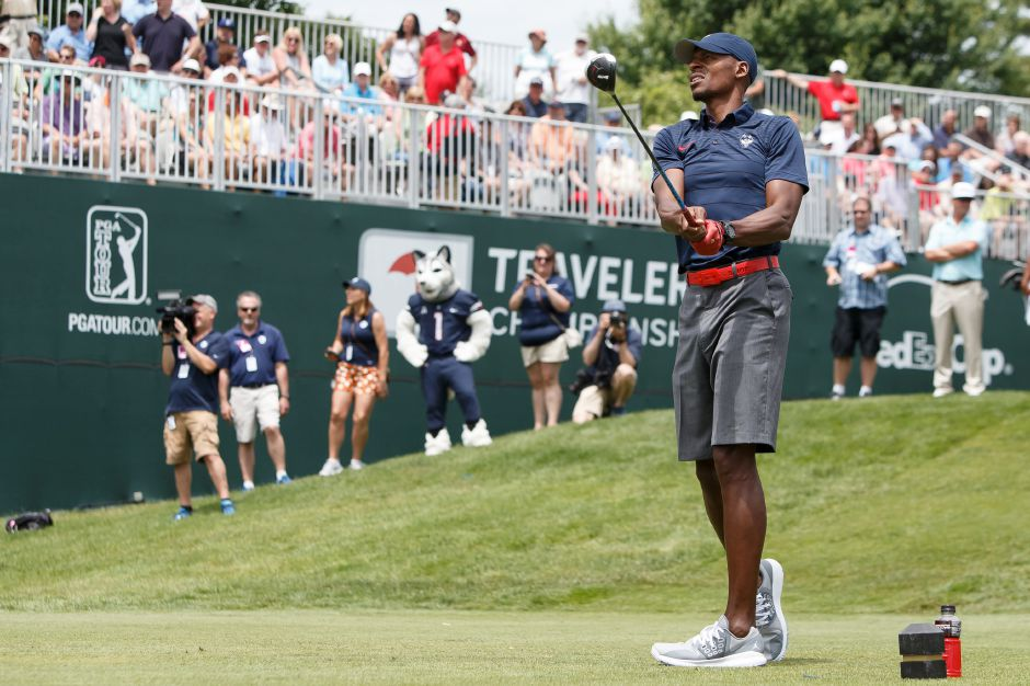 Ray Allen former UCONN mens basketball watches his drive from the first tee Wednesday during the Travelers Championship Celebrity Pro-Am at TPC River Highlands in Cromwell June 20, 2018 | Justin Weekes / Special to the Record-Journal