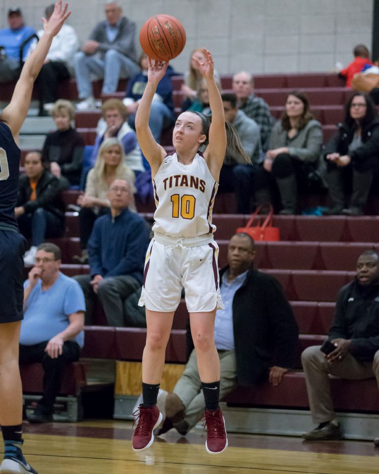 Caroline Dighello hit three times from beyond the arc en route to a game-high 15 points in Sheehan's 51-45 victory over Career on Monday night in New Haven. | Justin Weekes / Special to the Record-Journal