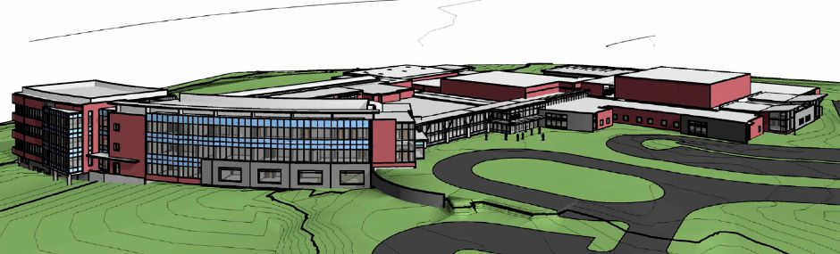 A rendering of Maloney High School after renovations by Fletcher Thompson. Dec. 1, 2011.