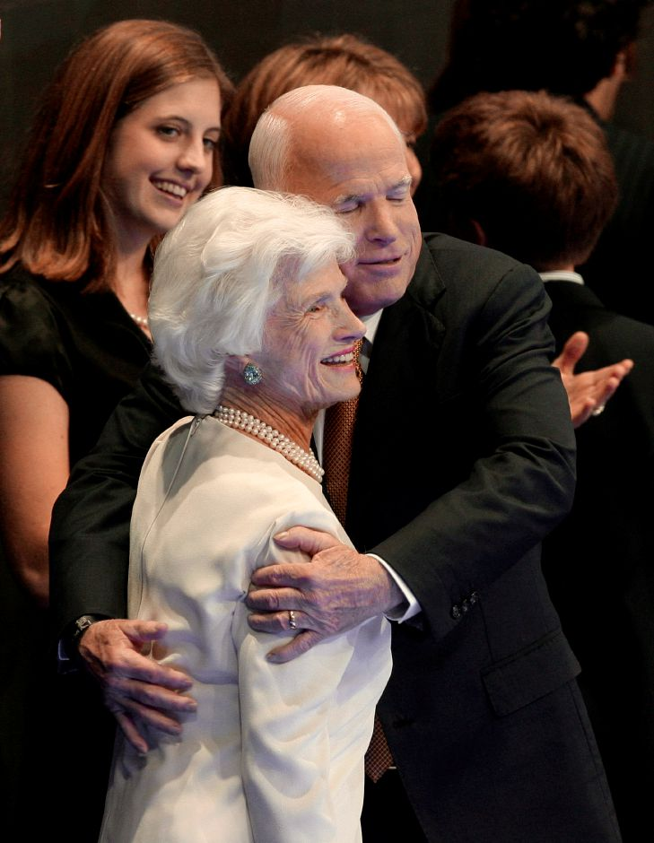 Republican presidential nominee John McCain embraces his mother Roberta at the end of his acceptance speech at the Republican National Convention in St. Paul, Minn., Thursday, Sept. 4, 2008. (AP Photo/Paul Sancya)