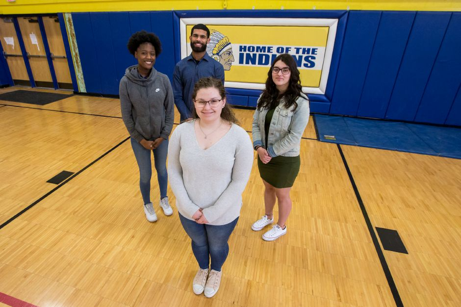 Let's go around the diamond with Wilcox Tech's Record-Journal Scholar-Athletes for the 2018-19 winter season. Moving clockwise from John Soto at the top are Kayla Gambardella, Kaitlyn Haniewski and Sacaria Cooper. Justin Weekes, special to the Record-Journal