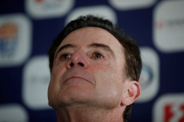 Rick Pitino the new coach of the Greek national basketball team listens a question during a press conference in Athens, Monday, Nov. 11, 2019. The 67-year-old American has agreed to coach the Greek national basketball team and lead its effort to qualify for the 2020 Tokyo Olympics. (AP Photo/Thanassis Stavrakis)