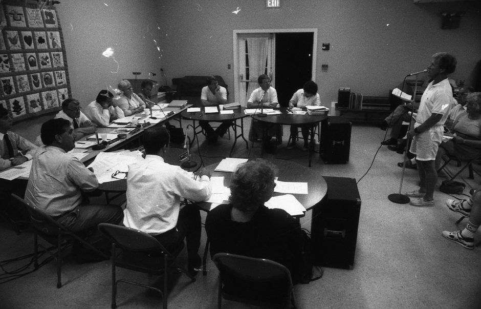 RJ file photo - Resident speak out on the Cheshire capital budget during a hearing Aug. 22, 1989.